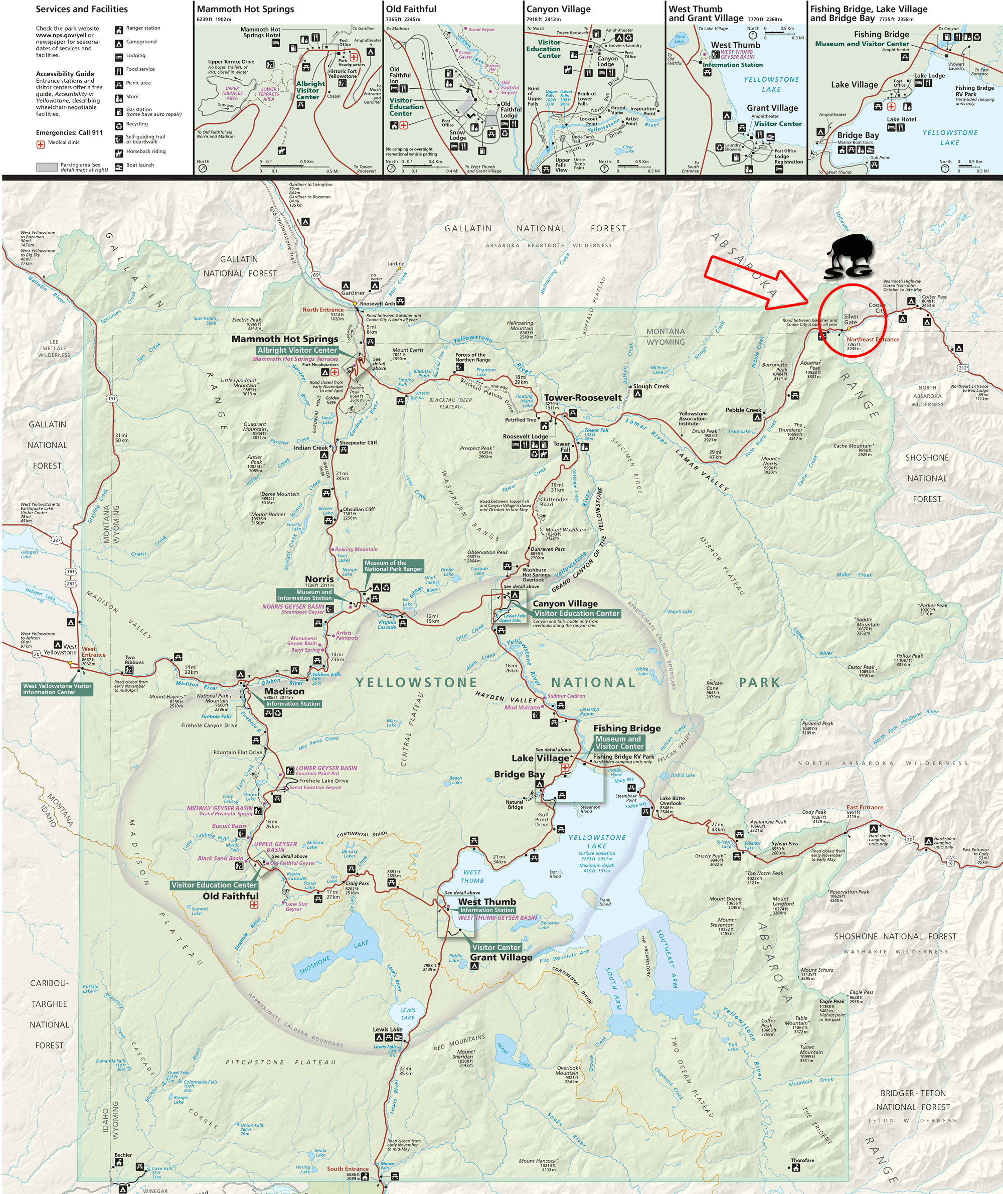 Yellowstone Cabin and Lodging Map - Silver Gate Lodging
